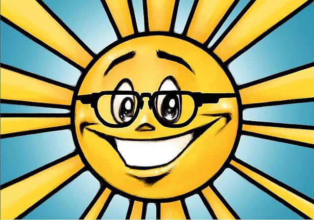 Sonne mit Brille in der Biosphäre Potsdam
