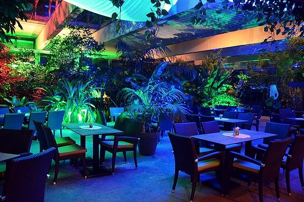 Café Tropencamp beleuchtet in der Biosphäre Potsdam